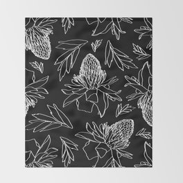 Tropical Ginger Plants in Black + White Throw Blanket