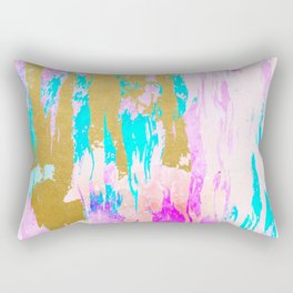 Meraki, Abstract Gold Painting, Colorful Graphic Design, Golden Pink Blue Eclectic Luxe Illustration Rectangular Pillow