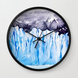 Glacier. Watercolor landscape. Wall Clock