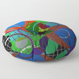 Caged Geometry - Abstract, metallic, geometric, rainbow coloured circles Floor Pillow