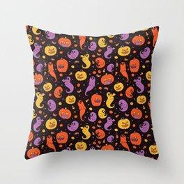 Cute Halloween Cartoon Ghost and Pumpkin Pattern Throw Pillow