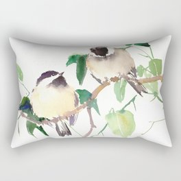 Chickadees, birds on tree, bird design neutral colors Rectangular Pillow