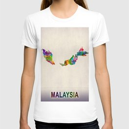 Malaysia Map in Watercolor T-shirt
