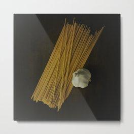 Pasta and Garlic Metal Print