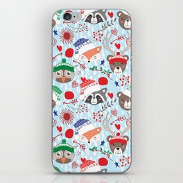 Christmas animal smiles iPhone Skin