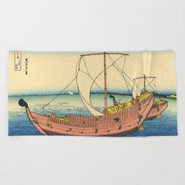 "Hokusai (1760–1849) ""The Kazusa Province sea route"" Beach Towel"