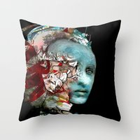mask Throw Pillows featuring Mask by Irmak Akcadogan