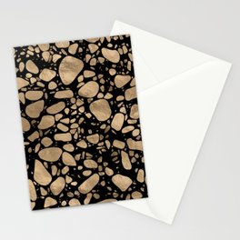 Terrazzo - Mosaic - gold on black Stationery Cards