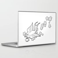 swallow Laptop & iPad Skins featuring Colouring Swallow by Jelly Roger