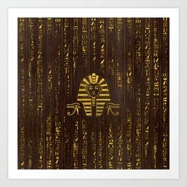 Golden Egyptian Sphinx and hieroglyphics on wood Art Print