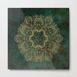 Golden Flower Mandala on Dark Green Metal Print