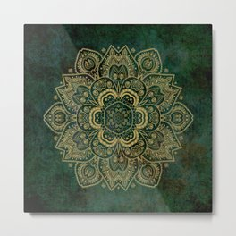 Golden Flower Mandala on Dark Green Metal Print