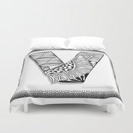 Zentangle V Monogram Alphabet Initial Duvet Cover