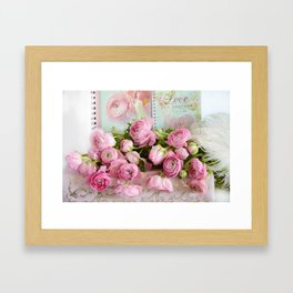 Shabby Chic Cottage Pink Floral Ranunculus Peonies Roses Print Home Decor Framed Art Print
