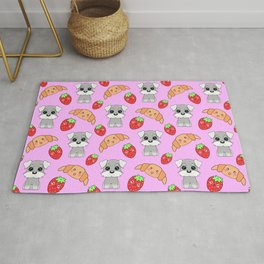 Cute happy funny baby puppy Schnauzers, sweet adorable yummy Kawaii croissants and red ripe summer strawberries cartoon pastel pink pattern design Rug