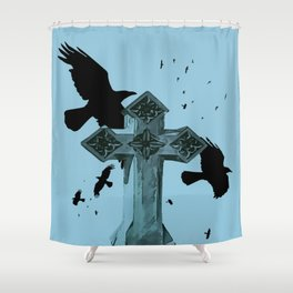 Gothic Cross Headstone With Crows and Ravens Shower Curtain