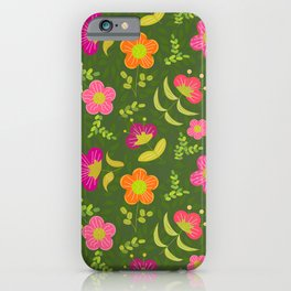 Bright Rounded Flowers on Bed of Dark Olive Leaves (pattern) iPhone Case