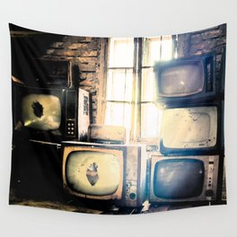 Old televisions in a dusty attic Wall Tapestry