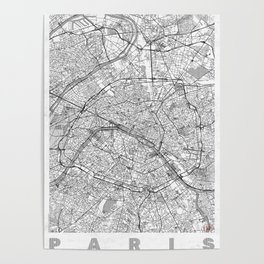 Paris Map Line Poster