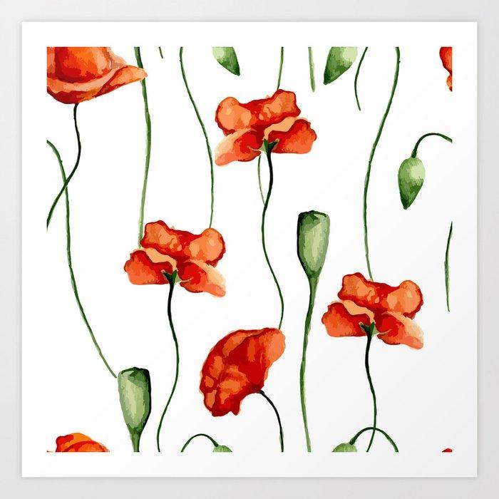 Poppies pattern Art Print