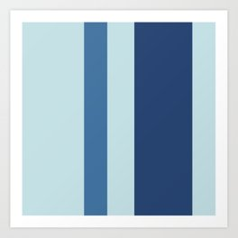 A splendid harmonization of Light Grey, Dark Slate Blue, Off Blue and Queen Blue vertical stripes. Art Print