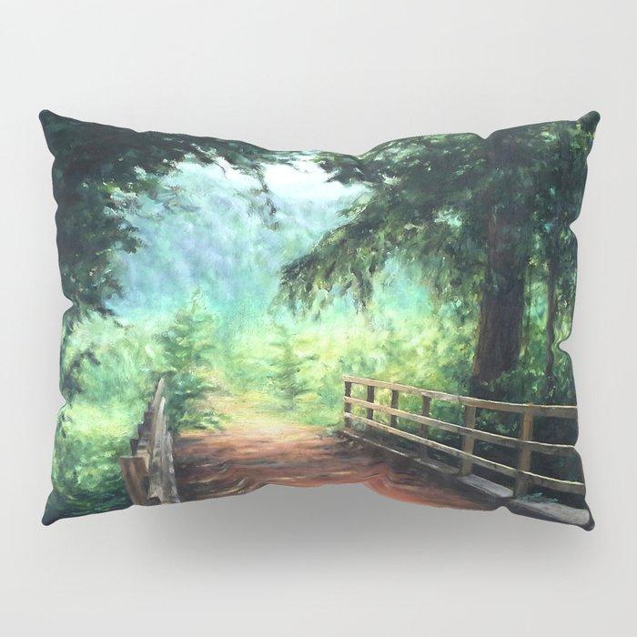 Landscape of nature with a wooden bridge Pillow Sham