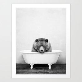 Brown Bear in a Vintage Bathtub (bw) Art Print