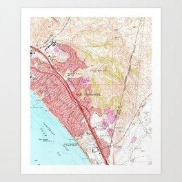 Vintage Map of San Clemente California (1968) Art Print