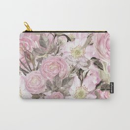 Floral Vintage painterly background in pink with Roses Flowers and insect Carry-All Pouch