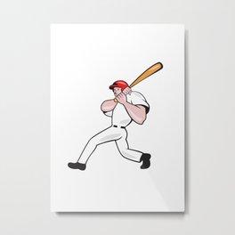Baseball Player Batting Look Side Isolated Cartoon Metal Print