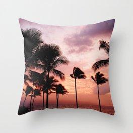 Palm Tree Sunset Throw Pillow