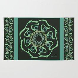 Hope Mandala with Border - Green Black Rug
