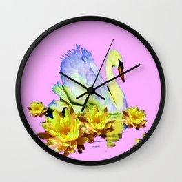 White Swan & Yellow Water Lilies Pink Art  Fantasy Wall Clock