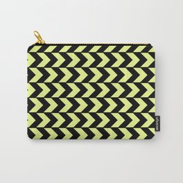 Graphic Geometric Pattern Minimal 2 Tone Arrow Triangles (Neon Yellow & Black) Carry-All Pouch