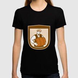 Bartender Carrying Keg Shield Retro T-shirt