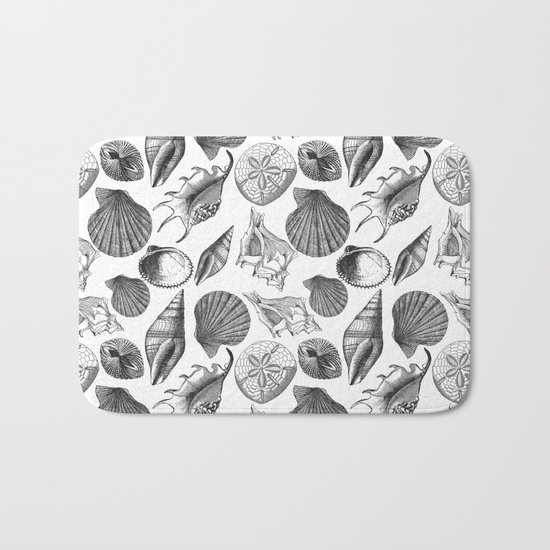 Sea and Ocean Life-Shell Pattern-Mix & Match with Simplicity of life Bath Mat