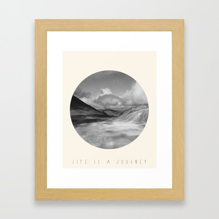Life Is A Journey (Black & White) Framed Art Print