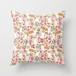 Corgi Florals - vintage corgi and florals gift great for corgi lovers Throw Pillow