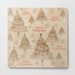 Vintage Merry Christmas Metal Print