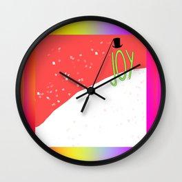 HOLIDAY JOY WITH RAINBOW BORDER Design Pattern Wall Clock