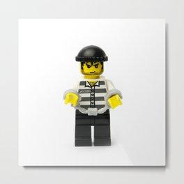 Villain robber Minifig Metal Print