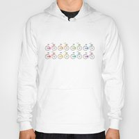bicycles Hoodies featuring Rainbow Bicycles by Nicole Alesi