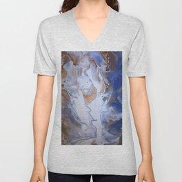 Blue Cloudy Fluid Abstract Art Unisex V-Neck