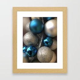 Holiday Blue and Silver Glitter Ornaments Framed Art Print