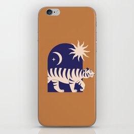 Mid Century Magic Minimalist Modern Trendy Contemporary Mythical Tiger Other Dimensions Sun Moon Zodiac Symbol Tan Earth Tones iPhone Skin