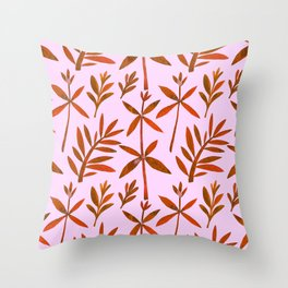 Orange Brown Watercolor Autumn Leaves Pattern Throw Pillow