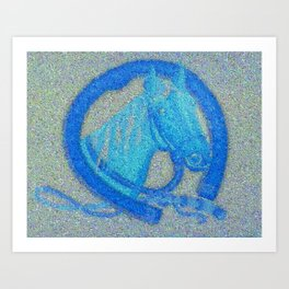 blue-horse-mosaic Art Print