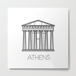 Acropolis Athens Greece Black and White Metal Print