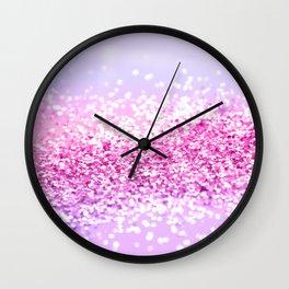 Pink Purple MERMAID Girls Glitter #1 #shiny #decor #art #society6 Wall Clock