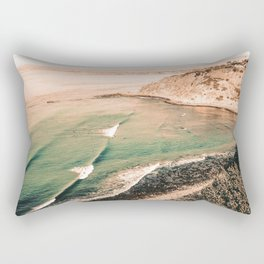 California Pacific Coast Highway // Vintage Waves Crashing on the Beach Teal Ocean Water Rectangular Pillow